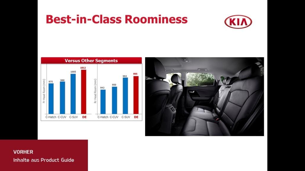 Folie mit 2 Inhalten drauf, links zwei Säulendiagramme und Links das Bild eines Innenraums von einem Auto
