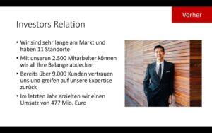 Vorher-Beispielfolie Investors Relation